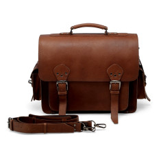 Leather Side Pocket Press Lock Briefcase