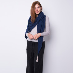 Oversized triangle shawl with tassel in denim blue