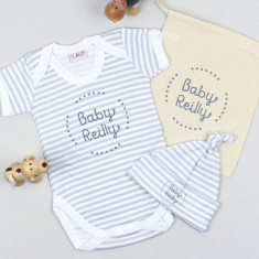 Personalised new Baby Gift Set - striped design