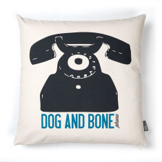Cockney dog and bone cushion cover