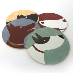 Dog coasters (set of 4)