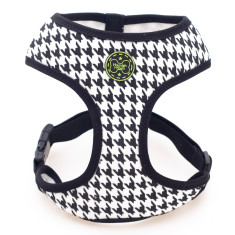 Houndstooth dog harness in black