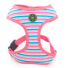 Stripe dog harness in pink