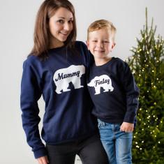 Personalised Polar Bear Twinning Christmas Jumper Set
