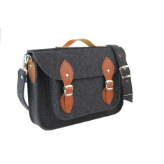 Dark grey felt bag for your laptop with brown leather
