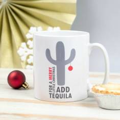 Personalised 'Add Tequila' Merry Christmas Cactus Mug