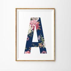 Vintage floral letter print