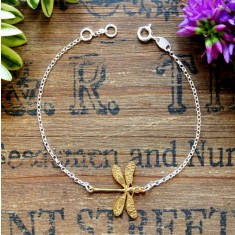 Dottie silver and gold dragonfly bracelet