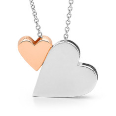 Sterling silver king of hearts and 9ct rose gold baby heart necklace