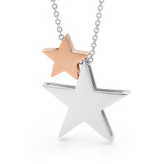 Silver and rose gold 2 stars necklace