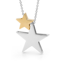 Yellow gold baby star and sterling silver star necklace