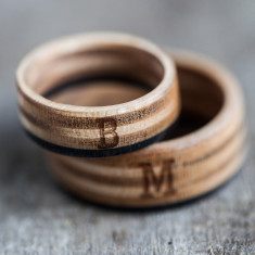 Recycled Skateboard wedding rings with your initials (set of 2)
