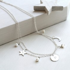 Personalised Sterling Silver and Freshwater Pearl Celestial Necklace