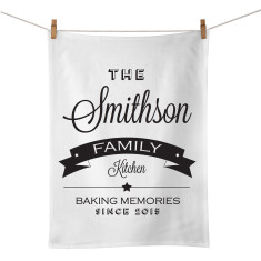 The family kitchen personalised tea towel (various colours)