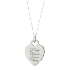 Engraveable sterling silver heart and sterling silver chain