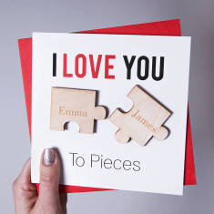I love you to pieces magnets card