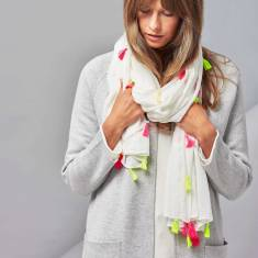 Neon and tassel scarf