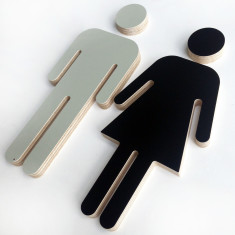 Male/female plywood sign (various colours)