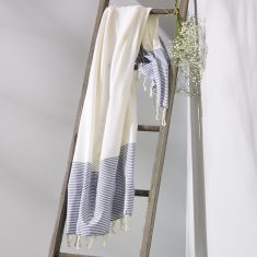 Freshwater Turkish Towel in White & Blue