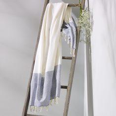 Freshwater Turkish Towel in White & Blue