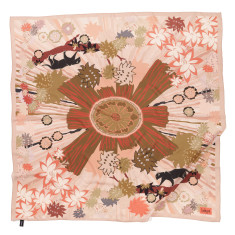 Panther peach silk scarf