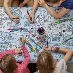 World Map tablecloth to colour in, wash-out pens included