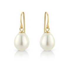 Teardrop Pearl Earrings on 10ct Goldfill Hooks