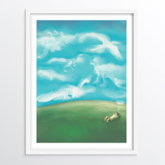 Dinosaur Wall Art for Children - Nursery or Bedroom Decor Print