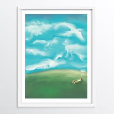 Dinosaur Wall Art for Children - Nursery or Bedroom Decor Print