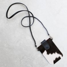 Mobile Phone Holder in Black and White Cowhide