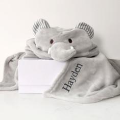 Personalised Grey Elephant Hooded Baby Blanket