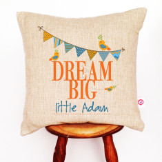 Dream big personalised boys' linen cushion cover