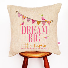 Dream big girls' personalised linen cushion cover