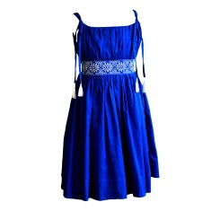 Claudia dress in blue with white trim