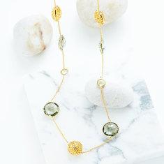 Jaali Gemstone Long Station Necklace