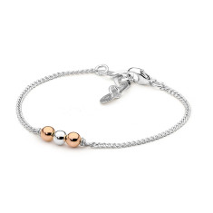 Sterling silver and rose gold fill bead fine bracelet