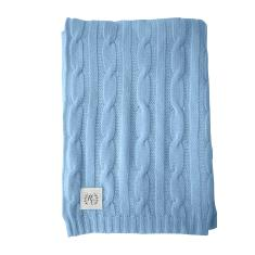 Cashmere cable knit baby blanket in blueberry