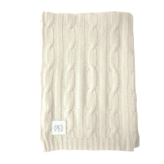 Cashmere cable knit baby blanket in vanilla