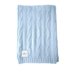 Cashmere cable knit baby blanket in baby blue