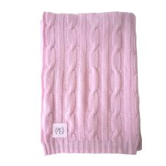 Cashmere cable knit baby blanket in baby pink