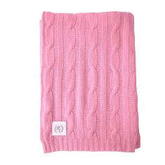 Cashmere cable knit baby blanket in strawberry