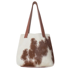Little Lygon bag in tan and natural cowhide