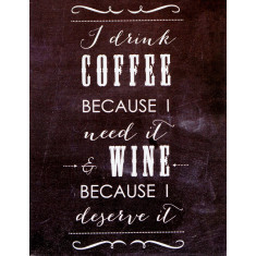 I drink coffee and wine chalkboard canvas