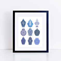 Playing card ginger jars limited edition giclee print