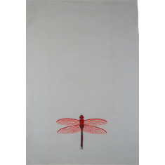 Dragonfly embroidered tea towel