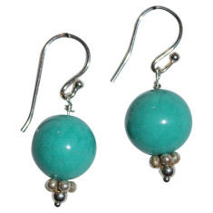 Amazonite and sterling silver drop earrings