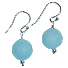 Faceted amazonite drop and sterling silver earrings