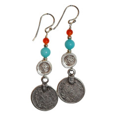 Silver Turkish coin & stone drop earrings