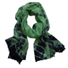 Cashmere scarf in mint and indigo