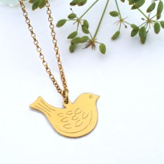 Personalised gold medium bird necklace